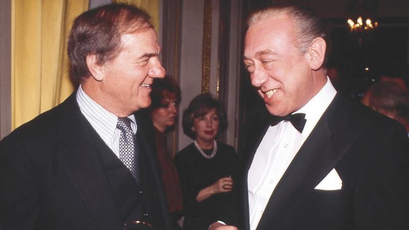 Verstanden sich prächtig: BAMBI-Sieger Karl Malden und sein deutscher Schauspiel-Kollege Horst Tappert (rechts).