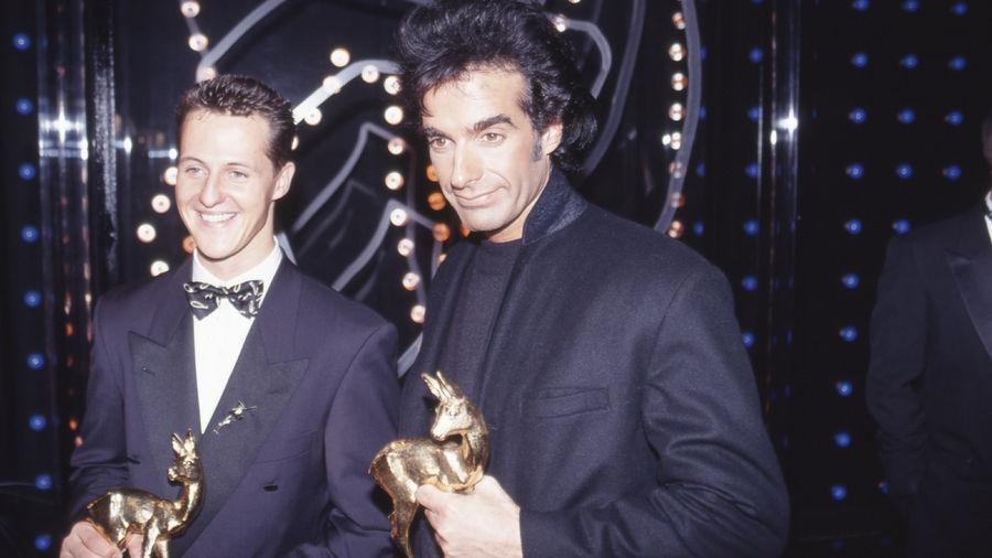 BAMBIi-Sieger 1993 in München: Formel-1-Newcomer Michael Schumacher und US-Magier David Copperfield.
